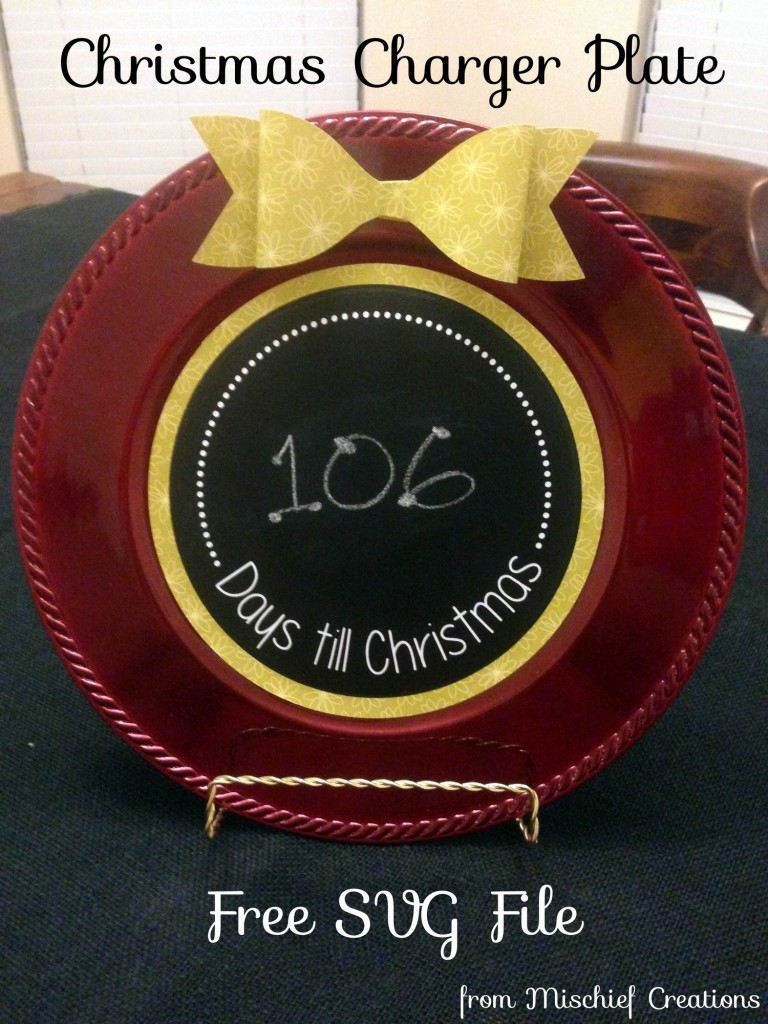 Days Till Christmas Charger Plate