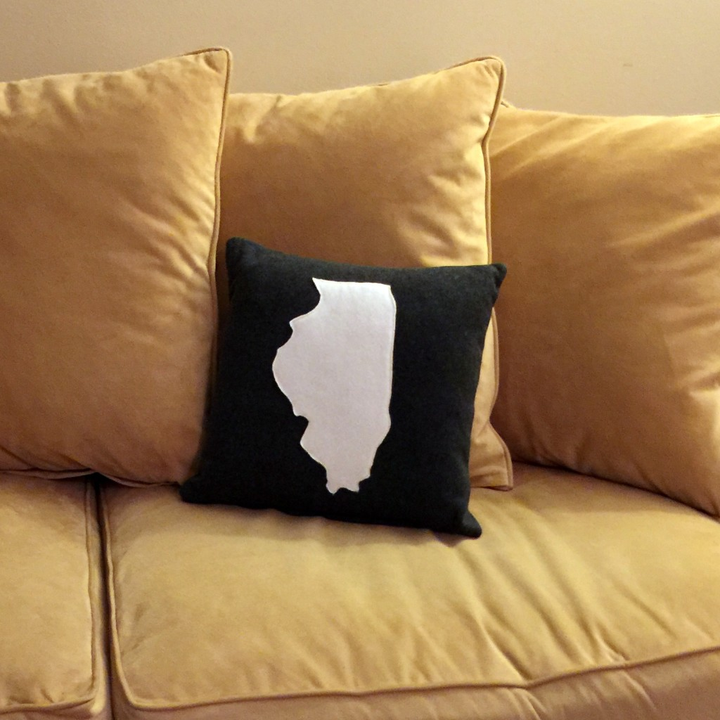 Here's another view of the zippered state pillow!