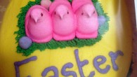 Peeps say Happy Easter in this Easter Cake Idea