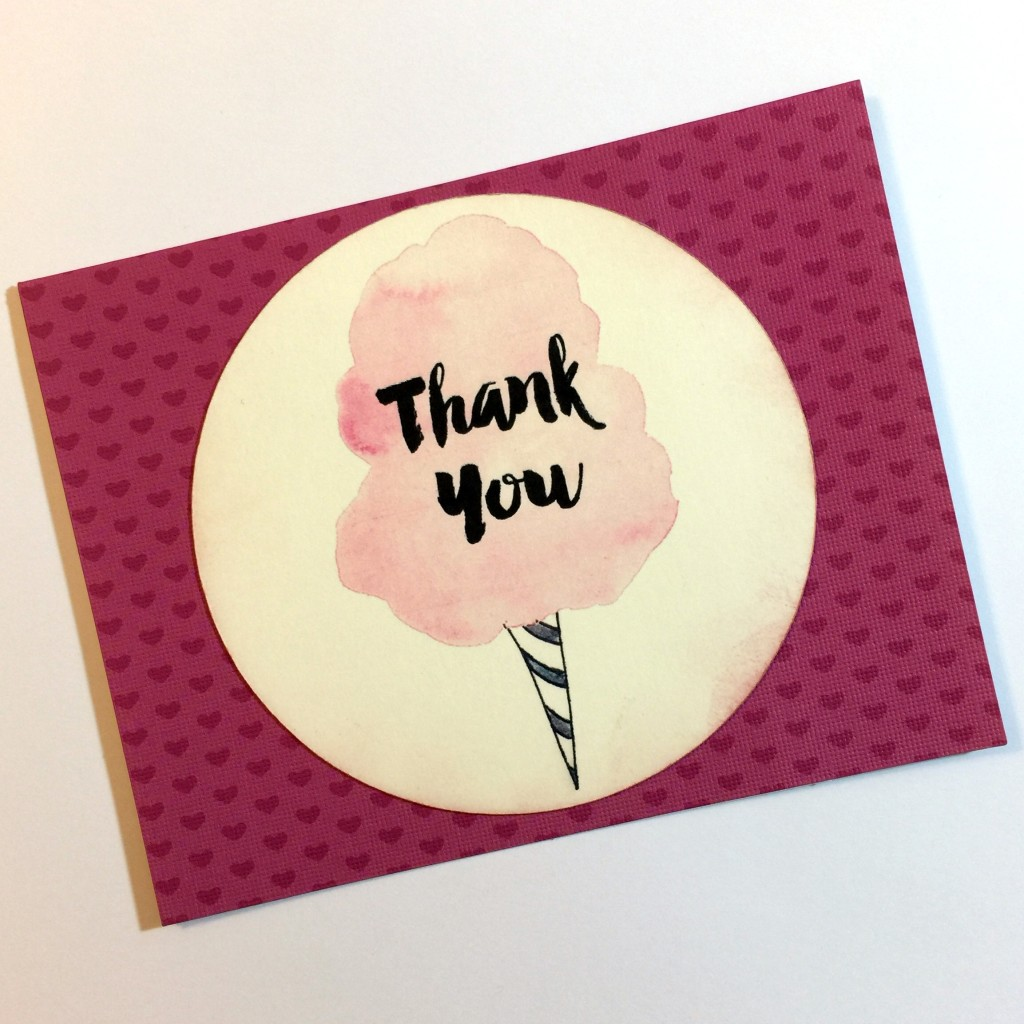 Easy, Cute, Hand Made, Modern Cotton Candy Thank You Card